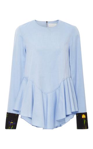Medium kaelen light blue printed cuffs flounce shirt