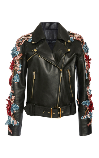 Medium elie saab black embellished leather jacket