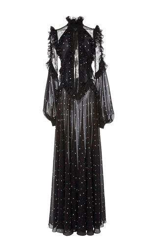 Medium elie saab black ruffled sleeve long dress