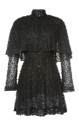 Medium elie saab black beaded cape mini dress