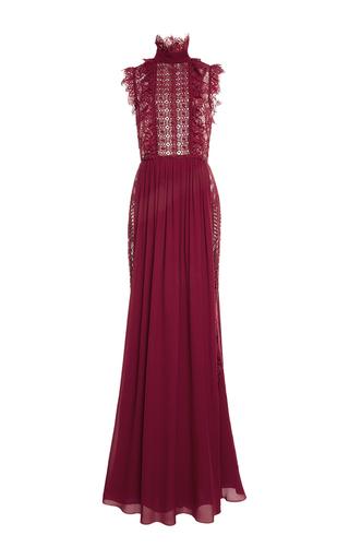 Medium elie saab red mock neck lace long dress
