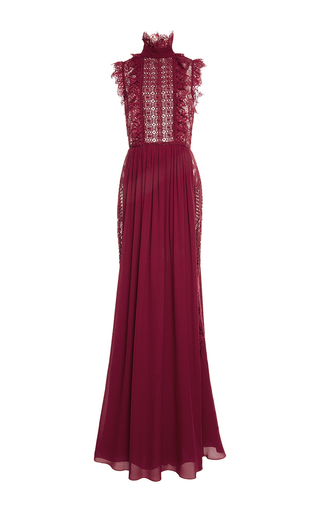 Medium elie saab red mock neck lace long dress