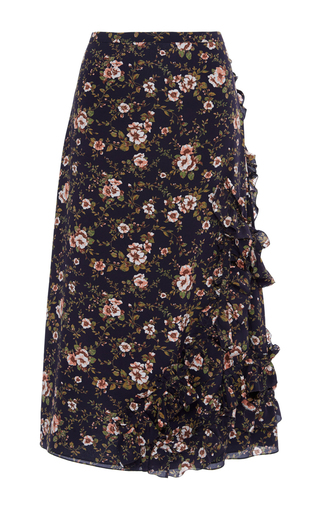 Medium rochas floral floral ruffle skirt