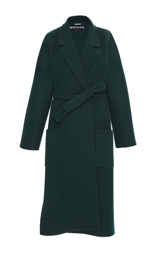 Medium rochas green belted long coat