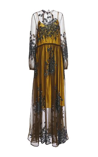 Medium rochas green long sleeve sequin embroidered dress
