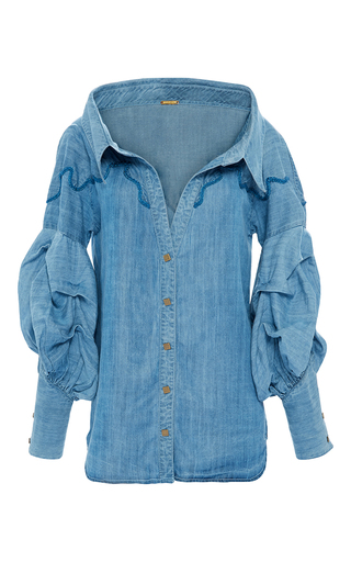 Medium johanna ortiz blue maxmiliana embroidered long sleeve shirt