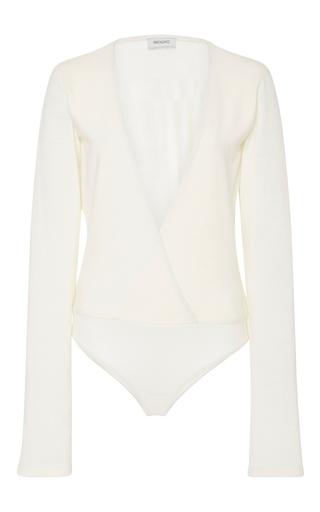 Medium protagonist ivory long sleeve overlap bodysuit