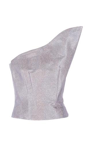 Medium vika gazinskaya purple one shoulder metallic top