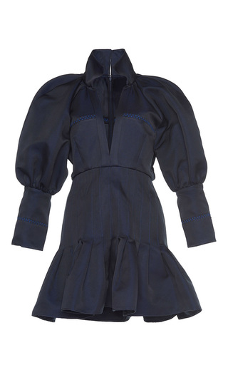 Medium ellery navy butler voluminous sleeve italian twill mini dress