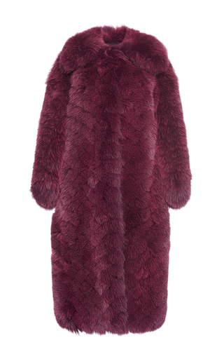 Medium ellery purple purple empire slim long fur coat