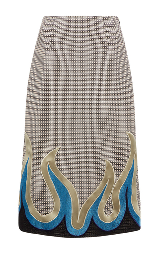 Medium mary katrantzou tan sigma western flame skirt