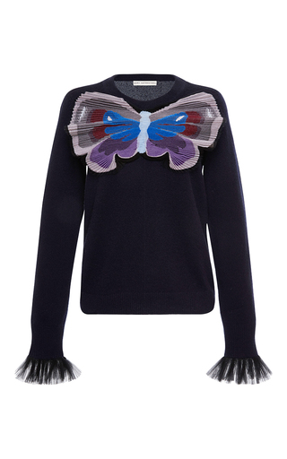 Medium mary katrantzou navy tuco embroidered cashmere knit