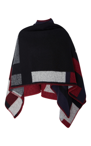 Medium burberry navy color block poncho