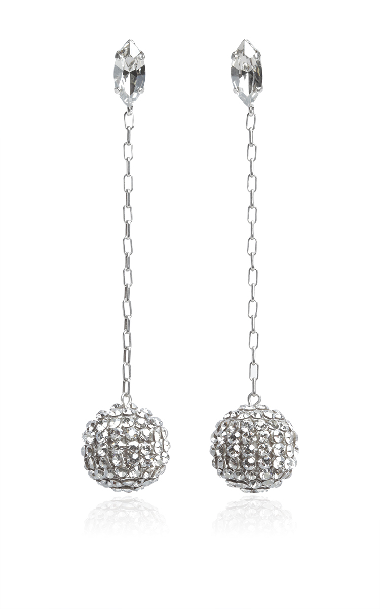 7e09413f01 Silver Crystal Embellished Ball Drop Earrings by Isabel Marant ...