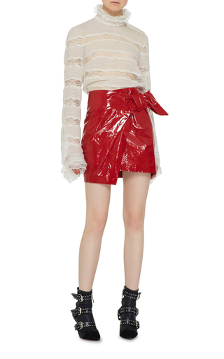 Red Anders Mini Asymmetric Wrap Over Skirt by ISABEL MARANT Now Available on Moda Operandi