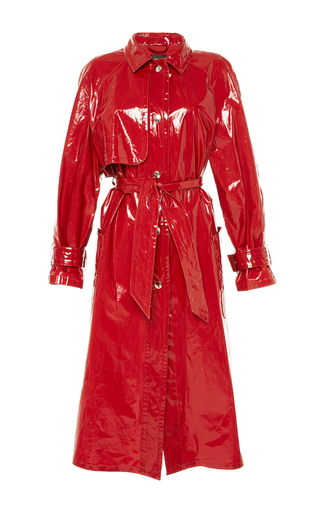 Medium isabel marant red red abby patent longline trench coat
