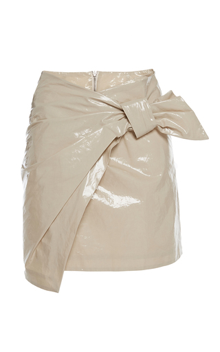Medium isabel marant tan tan anders mini asymmetric wrap over skirt