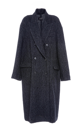 Medium isabel marant black black habra masculine longline coat