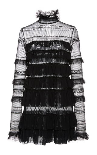 Medium isabel marant black trevor long sleeve lace frill dress