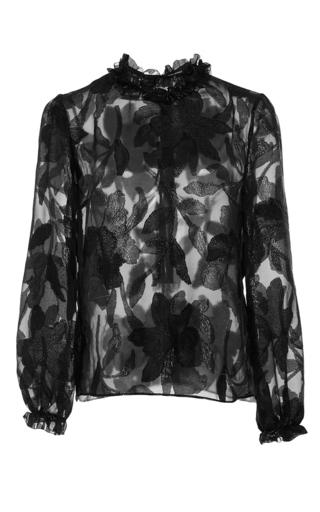 Medium isabel marant black udell sheer floral design blouse