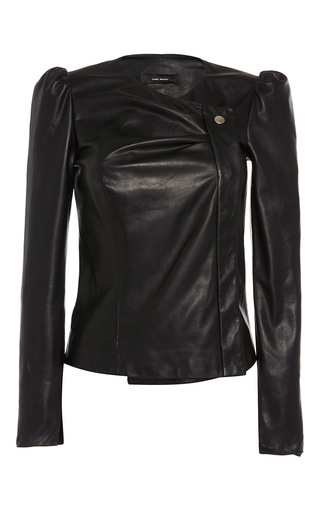 Medium isabel marant black connie wrap over leather jacket