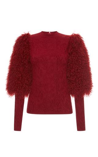 Medium sonia rykiel burgundy fur puff sleeve crewneck sweater