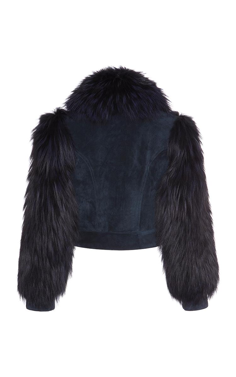 Fox Fur Sleeve Patchwork Denim Jacket By Sonia Rykiel -3685
