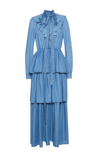 Medium sonia rykiel blue chambray tiered dress