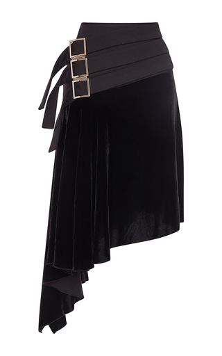 Medium antonio berardi black asymmetrical velour skirt