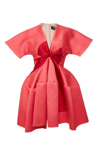 Medium paule ka pink duchess satin bow flared dress
