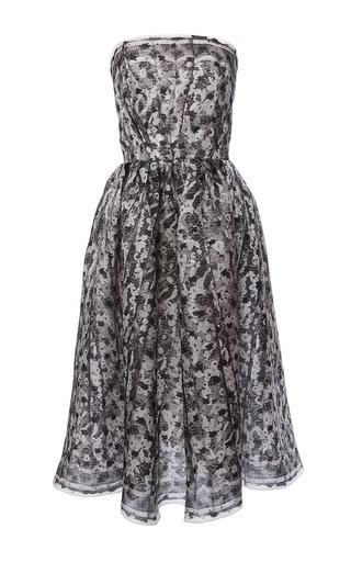 Medium paule ka black strapless printed lace midi dress