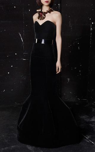 Velvet Floor Length Peplum Skirt by PAULE KA Now Available on Moda Operandi