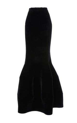 Medium paule ka black velvet floor length peplum skirt