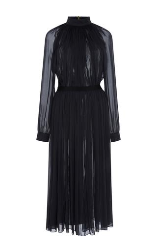 Medium maison rabih kayrouz black mousseline gathered mock neck dress