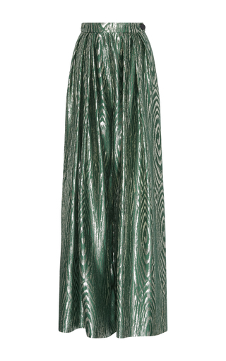 Medium maison rabih kayrouz green lame wide leg trousers