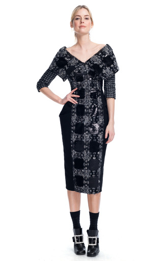 Medium marc jacobs multi oversize plaid structured sheath dress