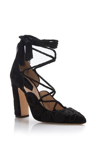 Medium elie saab black black lace up pump