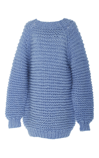 Medium i love mr mittens blue mock neck knit sweater