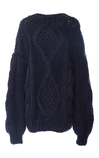 Medium i love mr mittens navy angeline cableknit sweater