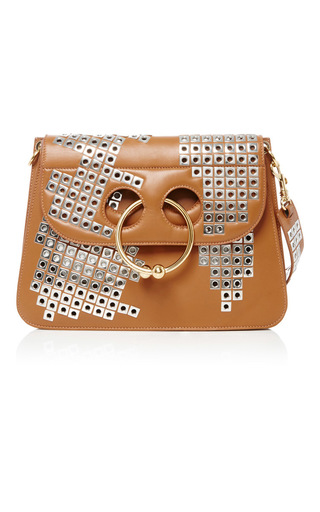 Medium j w anderson brown studded pierced shoulder bag