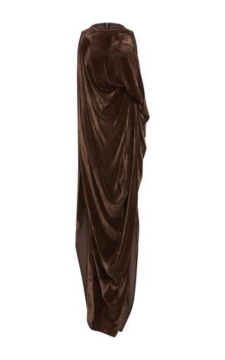 Medium rick owens brown velvet sheath dress