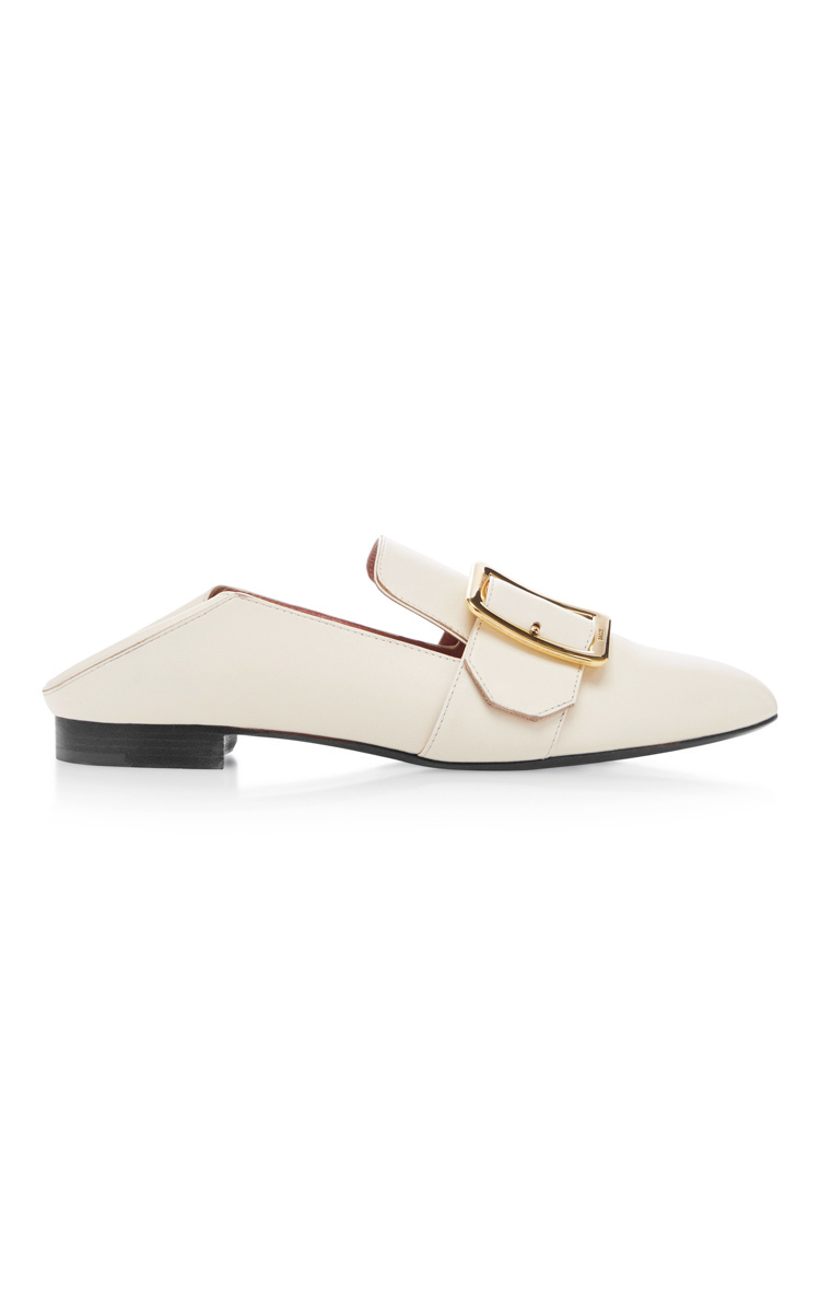 Lottie Buckled Leather Loafers, White
