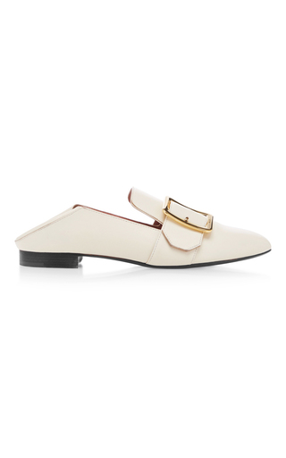 Medium bally white janelle leather slippers