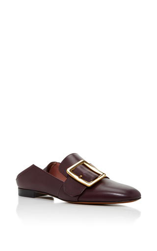 Medium bally burgundy janelle leather slippers merlot