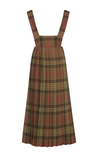 Medium suno plaid olive plaid pleated apron dress