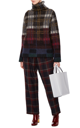Wine Plaid Pleated Trousers  by SUNO Now Available on Moda Operandi