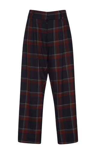 Medium suno plaid wine plaid pleated trousers
