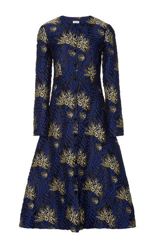 Medium suno blue floral raised jacquard dress