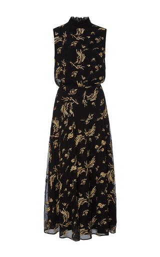 Medium suno black sleeveless floral midi dress