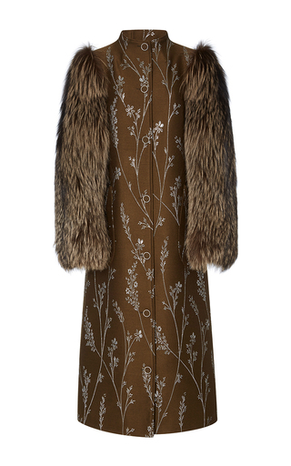 Medium suno floral fur sleeve metallic floral coat